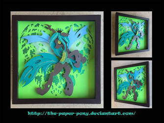 12x12 Queen Chrysalis Heart Shadowbox by The-Paper-Pony