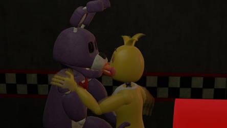 Toy Chica and Bonnie kissing- Test by AutKarosti
