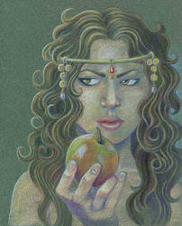 Lady Ragnell with an apple by Sigune
