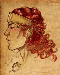 Gawain with a fancy headdress by Sigune
