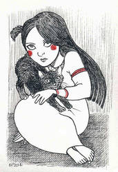 Inktober 8: Little Morgana and Lucifer by Sigune