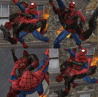 Spiderman Protecting Deadpool from bombs by PwN3Rship