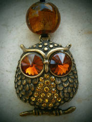 Vintage Style Owl Pendant necklace (for sale) by InkyDreamz