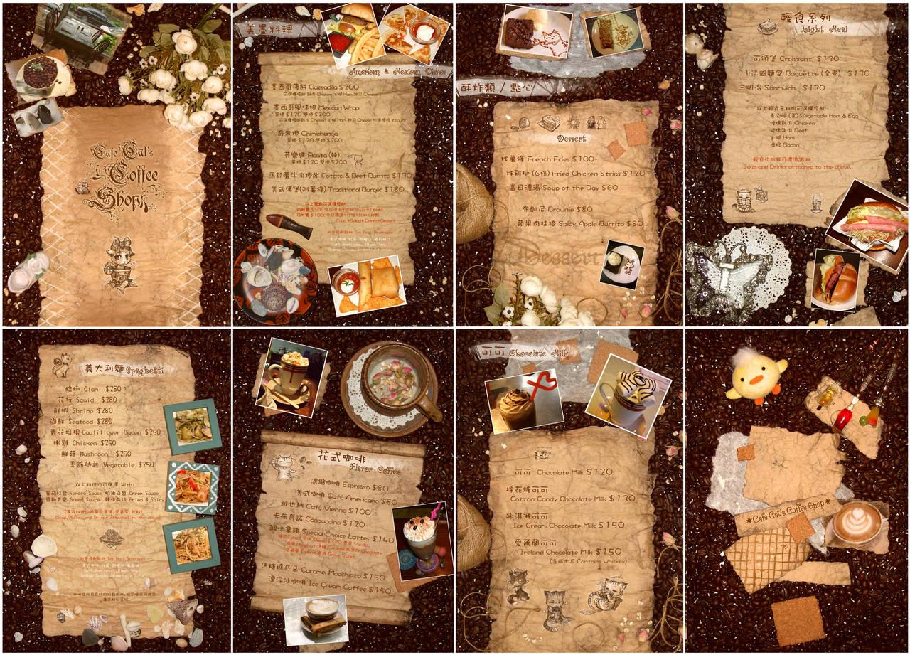 'Coffee Cat' menu design by RenieDraws