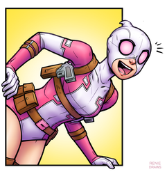 Gwenpool popout by RenieDraws