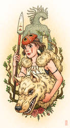 Princess Mononoke pinup by RenieDraws