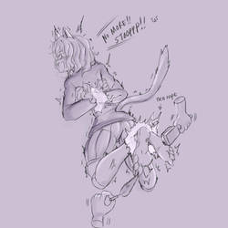 Commission - Neferpitou Tickling fest 1 (sketch) by KlaudSan