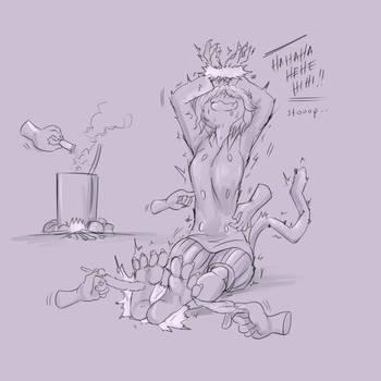 Commission - Neferpitou Tickling fest 2 (sketch) by KlaudSan