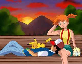 After the battle... (Ash and Misty - Pokeshipping) by NatyBarbosa