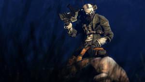 A bounty hunter kneels down over his prey by SuperNinjaNub