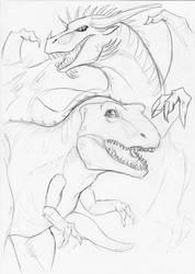 Dinosaur meets dragon by WinterBlueArt