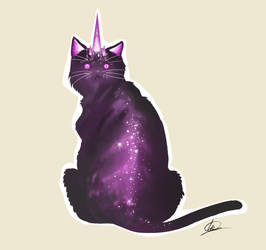 Sticker- Unicorncats. Space by LindaBedwall