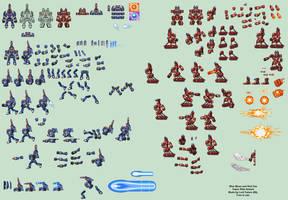 Blue Moon and Red Sun Ride Armors (MMX:U49) by IrregularSaturn