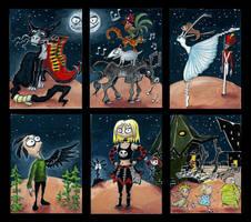 ATC's - Tim Burton-style Fairytales by Tamara-Hawk