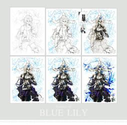 Process : Blue Lily by STECHA191