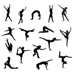 Gymnastic silhouettes vectors by GleenArt