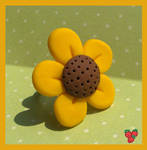 Polymer clay sunflower ring by merylu