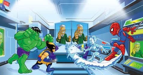 Marvel Spread HERO UP by Marcelo-Baez