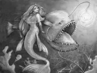 mermaid and angler by AvantFae
