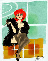 Lady Smoking by TracyLeeQuinn