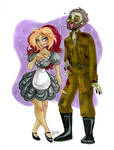 Magenta and WW2 Zombie commission by TracyLeeQuinn