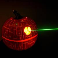 Death Star Pumpkin with Laser by Bonedaddybruce