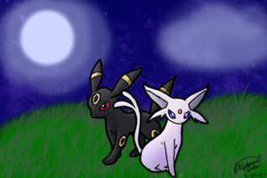 Umbreon and Espeon by flute-soloist