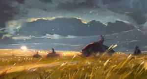 Golden fields sketch by Nik-Moskvin