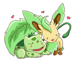 Bulbasaur and Leafeon by MeoWmatsu