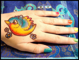 Rainbow Bird Sharpie Tattoo by DablurArt