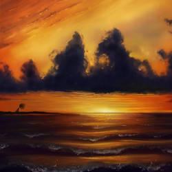 Stormy Sunset by RevelynArt