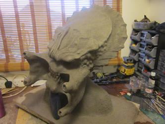 Lifesize Predator Head bust  Sculpt 3/4 view by VijayVega