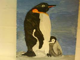 King Penguins, acrylic on canvas by ArcticIceWolf