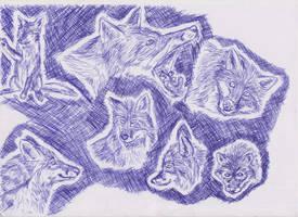Ballpoint pen foxes by ArcticIceWolf