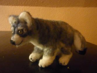 Grey Wolf felted posable doll by ArcticIceWolf