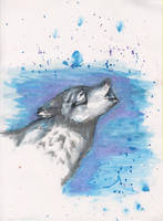 Watercolor Howling Timberwolf by ArcticIceWolf