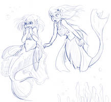 Surprised Mermaids by LukkiStarr