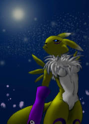 Renamon in the Moonlight by DaRkRaVeNsTeAr