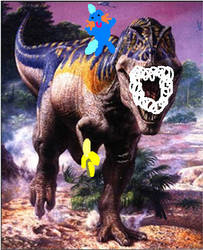 Rabid dino eating a banana by purplepanda32