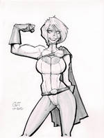 Powergirl - Grayscale Commission Sample by GilTriana