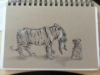 lunch doodle - tigers by GilTriana