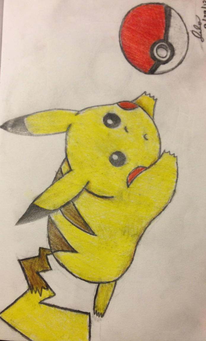 Pikachu playing with a Pokeball by JJflores69