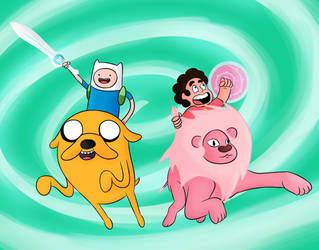 Adventure Time x Steven Universe by Pandapool