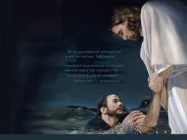 Jesus saves Peter. by Jesuschristforever