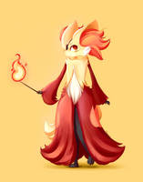 Commission: Cool Delphox by Manakono