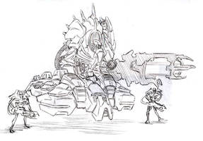 Necron Super Destroyer by Gannadene