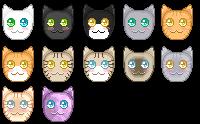 Kitties Pixel Icons (F2U) by GzanyKat