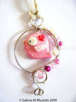 Wired Bird Pendant - Pink by ChocoAng3l