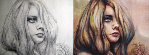 Reverie Sketch vs Painting by MichaelShapcott