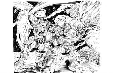 Optimus vs Gundam by Inker-guy
